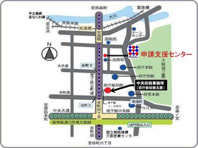 帰化で大阪府の府税に関する証明書が必要な際の地図